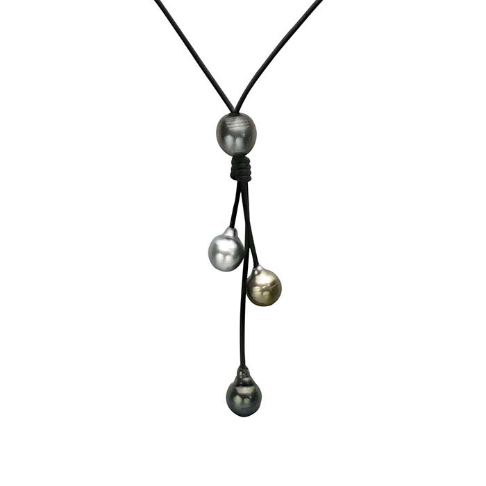 Black Leather Y-Style Necklace with Tahitian Pearls