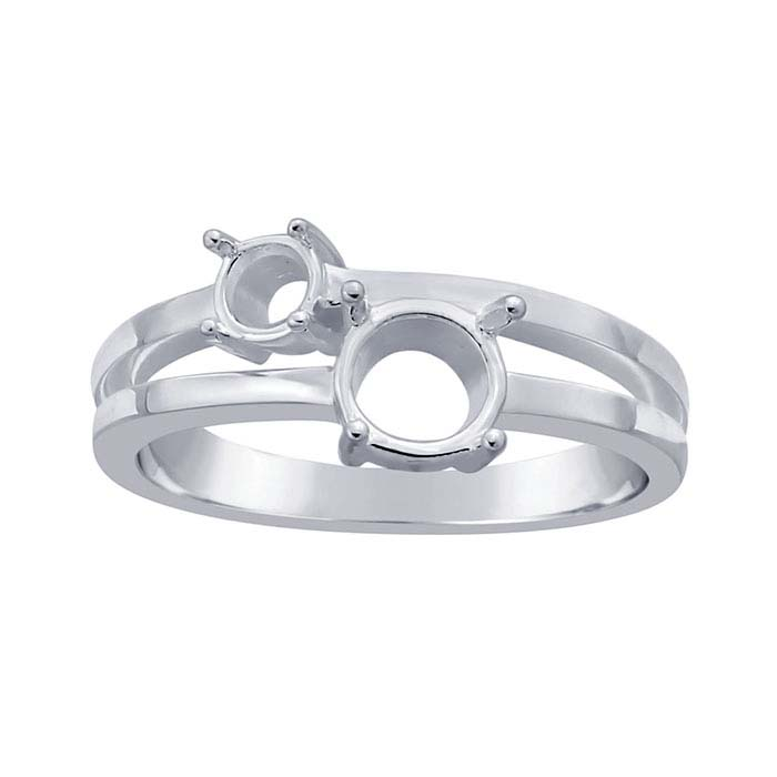 Sterling Silver Split-Shank Two-Stone Ring Mountings