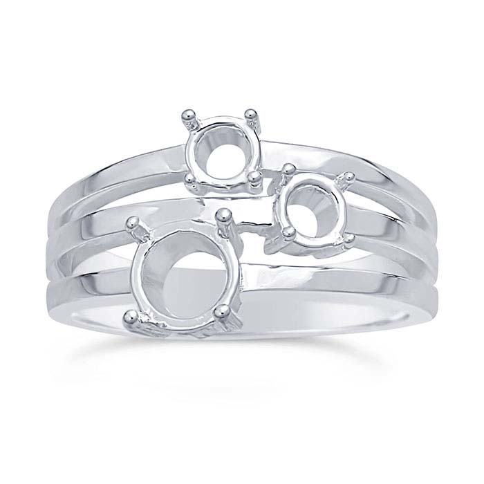 Sterling Silver Triple-Shank Three-Stone Ring Mountings