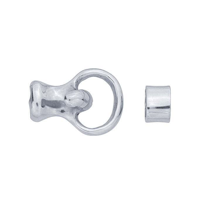 Sterling Silver Hook & Slide Ring Clasp, for 4mm Cord