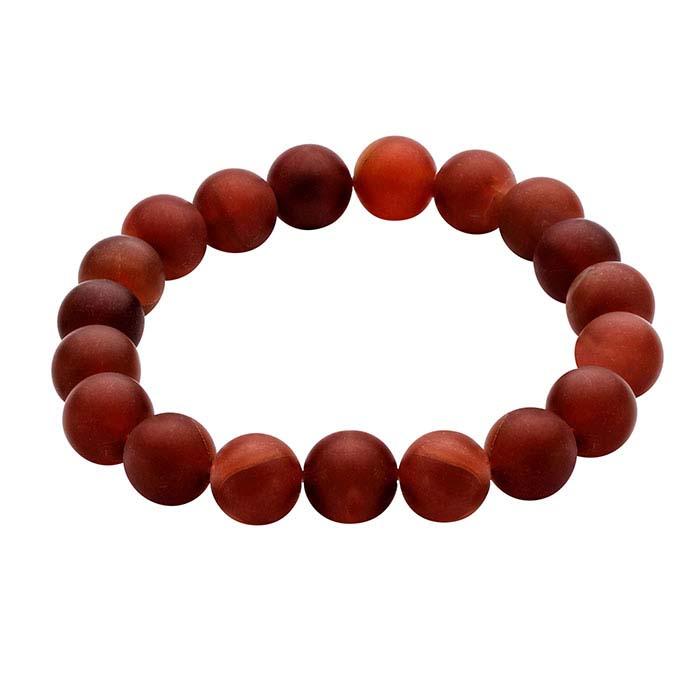 Matte-Finished Carnelian Bead Bracelet
