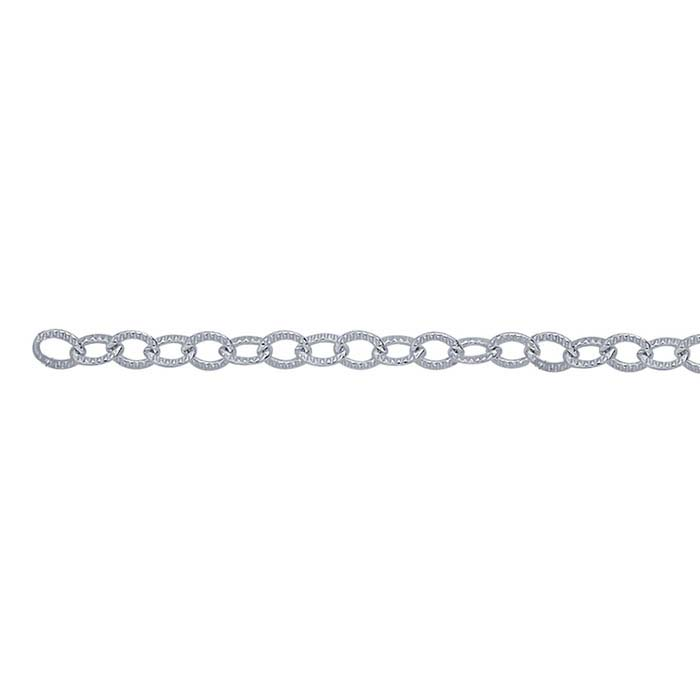 Argentium® Silver 2.2mm Patterned Flat Oval Cable Chain, By the Foot