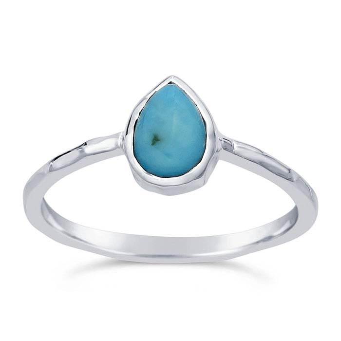 Sterling Silver Pear Turquoise-Set Rings