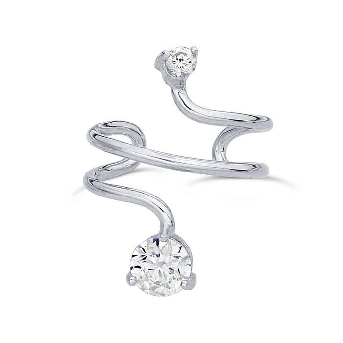 Sterling Silver Rhodium-Plated CZ-Set Ear Cuff