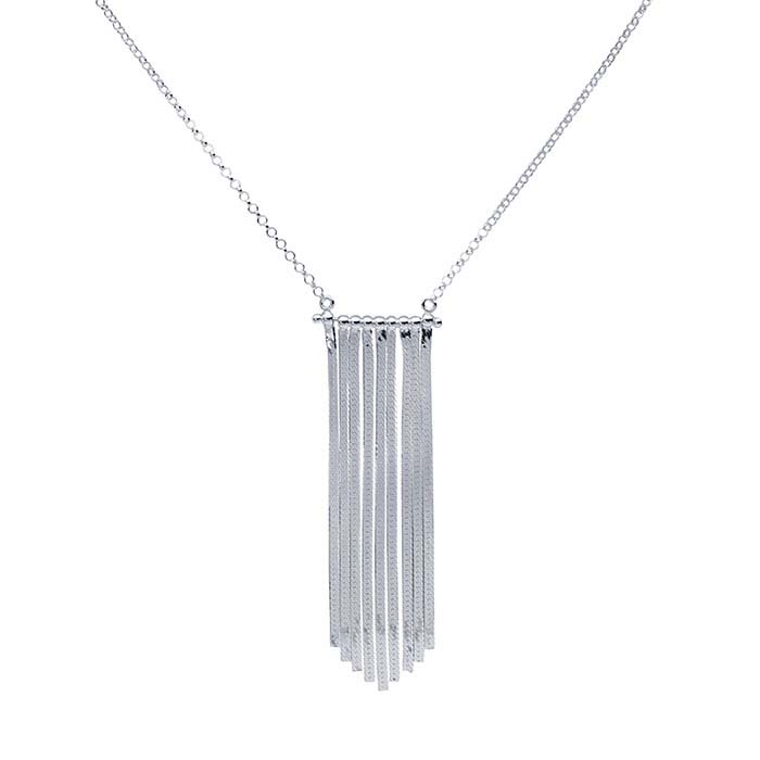 Sterling Silver Festoon Necklace with Flat Chain Graduated Tassel