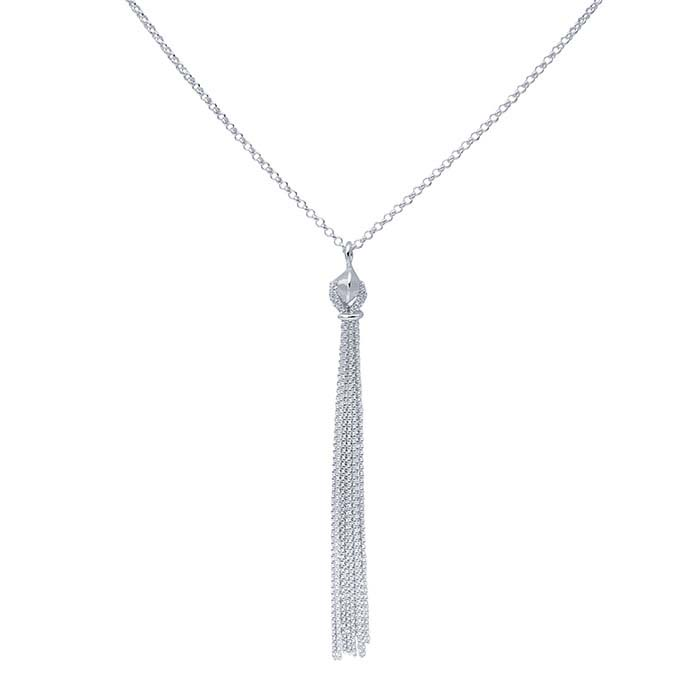 Sterling Silver Necklace with Chain Tassel Pendant