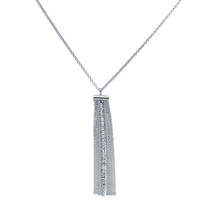 Sterling Silver Chain Necklace with Flat Tassel