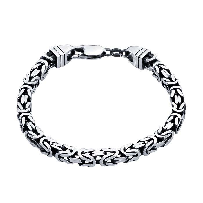 Sterling Silver Gunmetal 5 5mm Square Byzantine Chain Bracelet