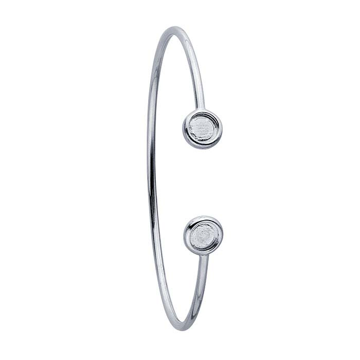 Sterling Silver Rhodium-Plated 6mm Round Bezel Flex Tube Bracelet Mounting