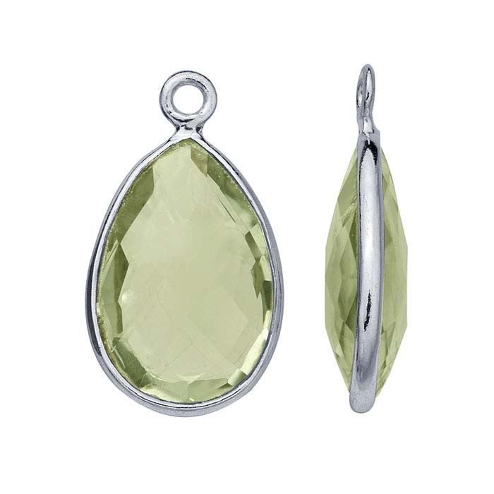 Sterling Silver Pear Checkerboard Green Quartz-Set Components