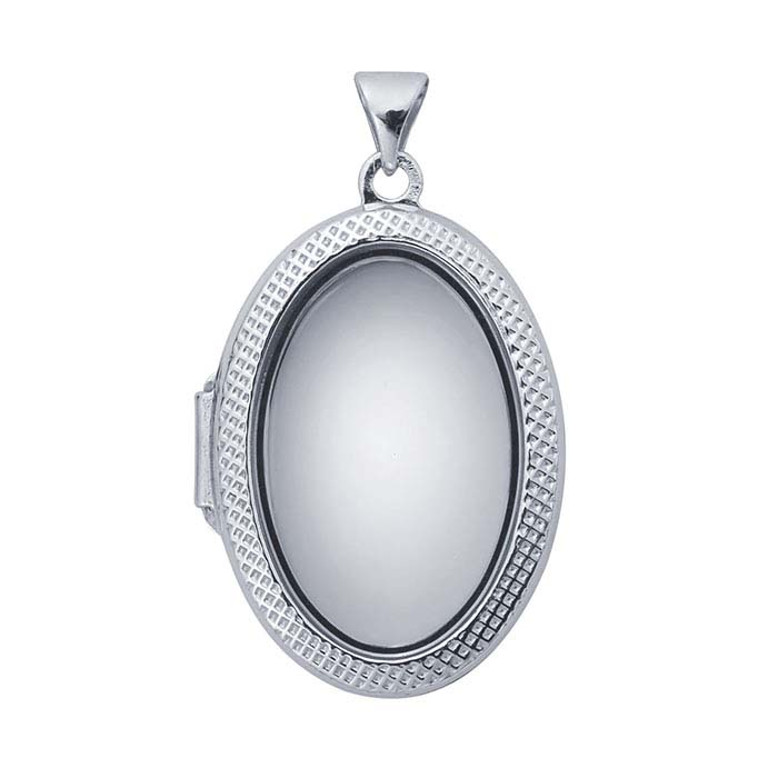 Sterling Silver Rhodium-Plated Patterned Oval Glass Locket Pendant