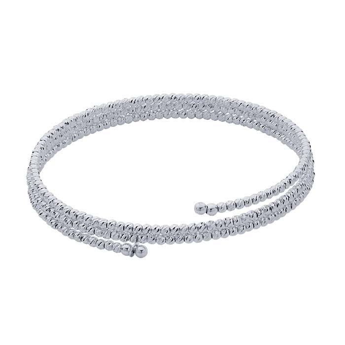 Sterling Silver Rhodium Plated Rhodium Plated Triple Wrap