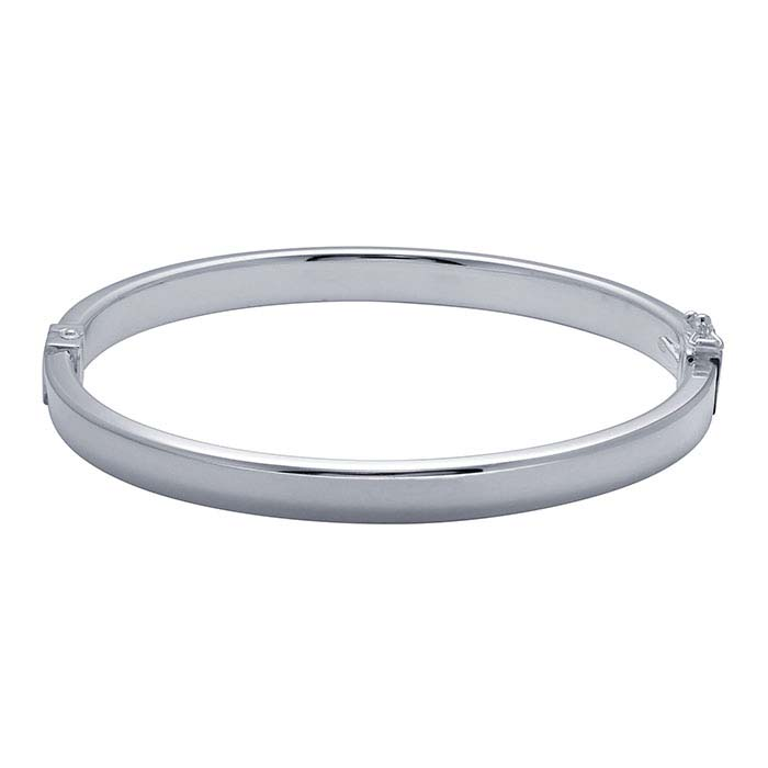 Sterling Silver Oval Hinged Bangle Bracelets