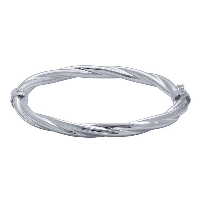 Sterling Silver Oval Hinged Loose Twist Bangle Bracelet