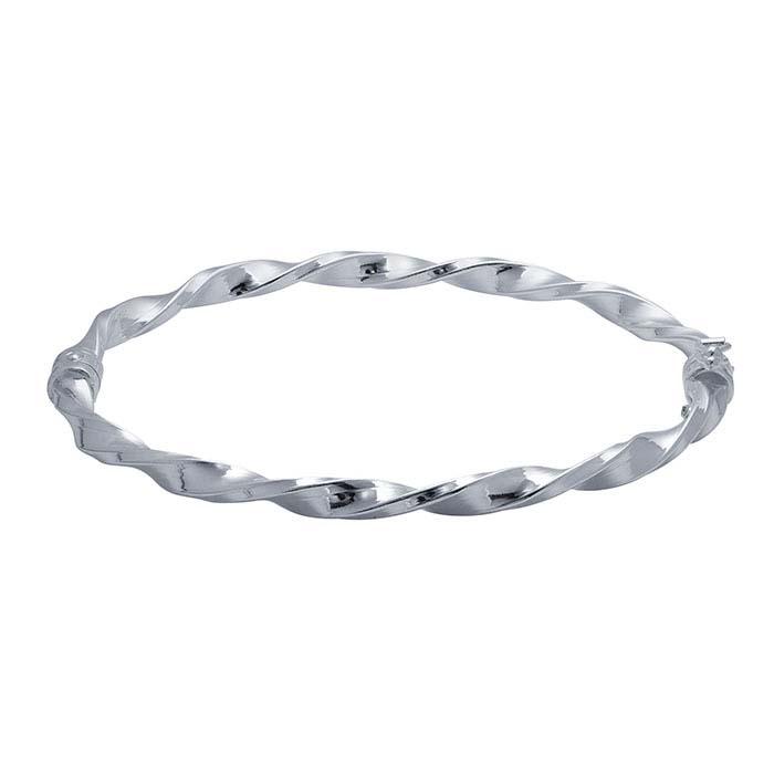 Sterling Silver Oval Hinged Twist Bangle Bracelet