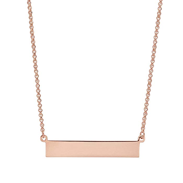 d5467520122e8 Sterling Silver Rose Gold-Plated Rectangle Festoon Necklace