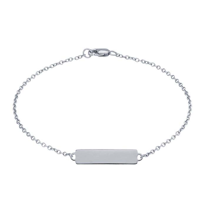 Sterling Silver Flat Rectangle Plaque ID Bracelet