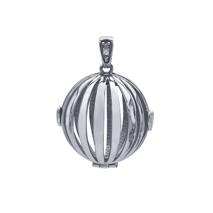 Sterling Silver Round Cage Locket with Diamond-Set Bail