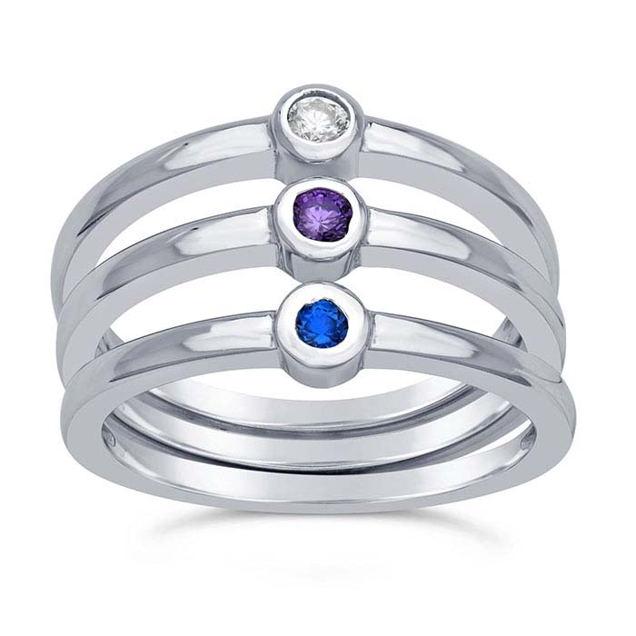 Sterling Silver Rhodium-Plated White, Blue & Purple CZ-Set 3-Ring Sets