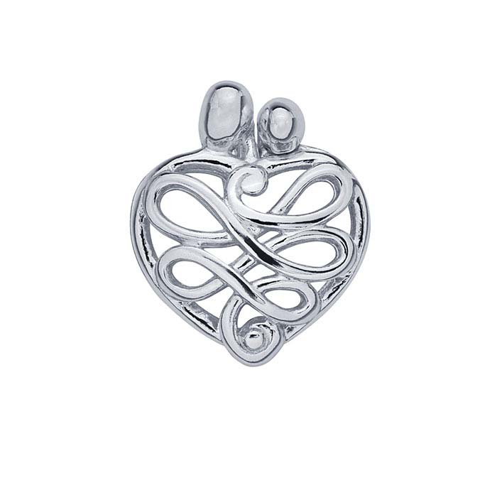 Sterling Silver Mother and Child Heart Pendant
