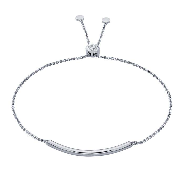 Sterling Silver Rhodium-Plated Curved-Bar Bracelet, Adjustable