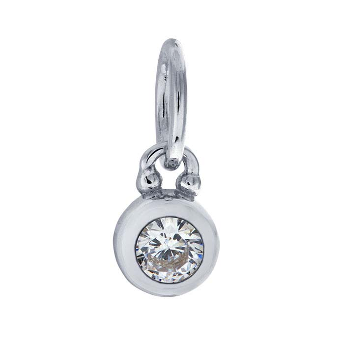 Sterling Silver Rhodium-Plated CZ-Set Round Charm