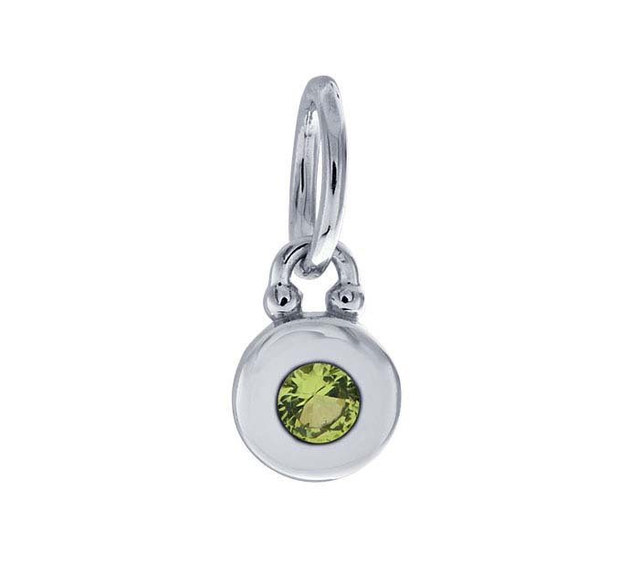 Sterling Silver Rhodium-Plated Green Nanogem-Set Round Charm