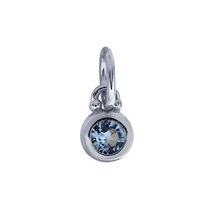 Sterling Silver Rhodium-Plated Blue Nanogem-Set Round Charm