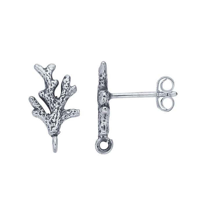 Sterling Silver Coral Branch Post Earring with Open Ring