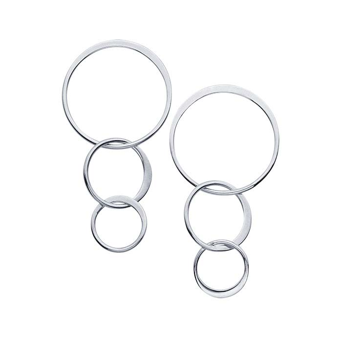 Sterling Silver Triple-Circle Post Earrings