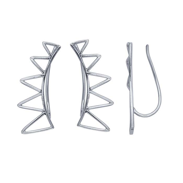 Sterling Silver Triangle Ear-Climber Earrings