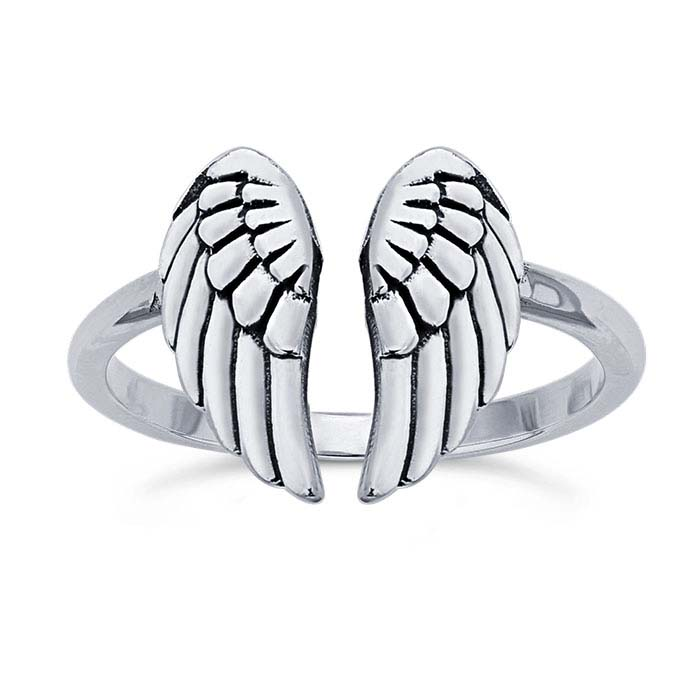Sterling Silver Angel Wings Ring, Adjustable