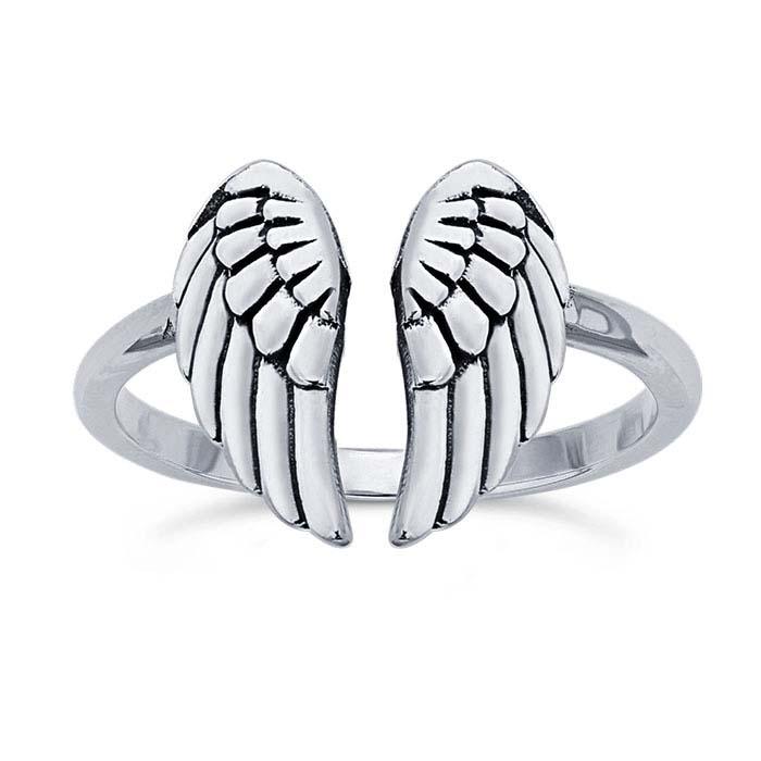 Sterling Silver Angel Wings Ring, Adjustable
