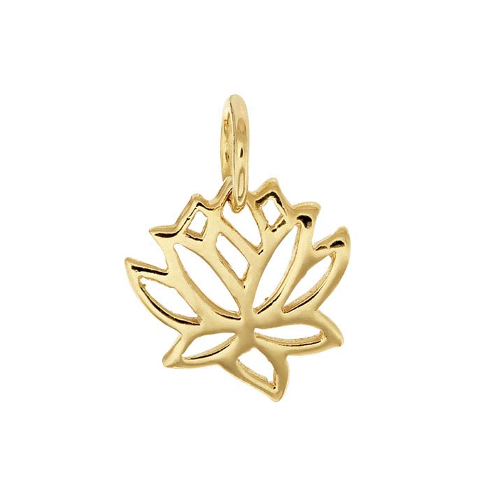 14K Heavy Yellow Gold-Plated Sterling Silver Open Lotus Charm