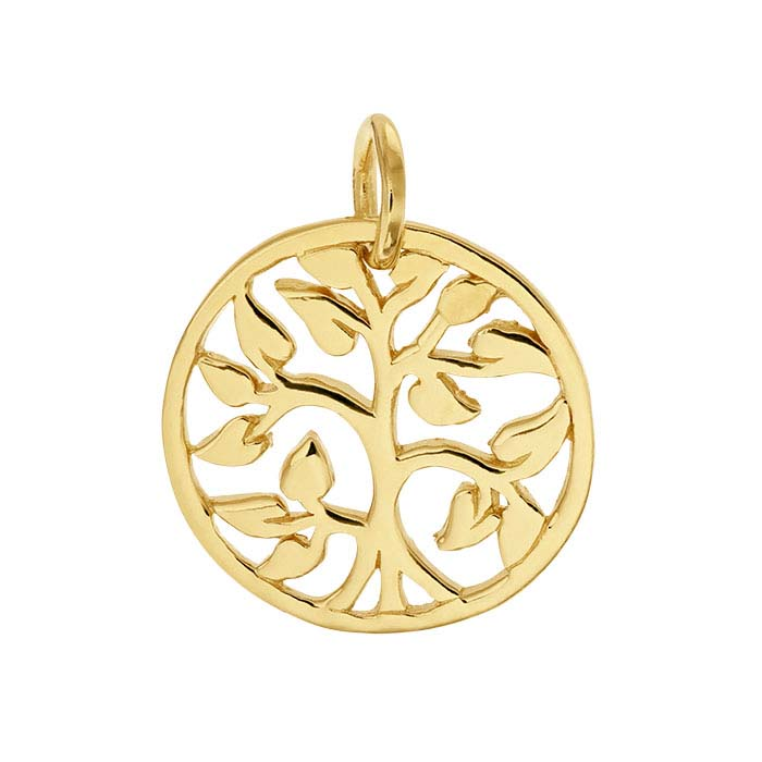 "14K Heavy Yellow Gold-Plated Sterling Silver ""Tree of Life"" Charm"