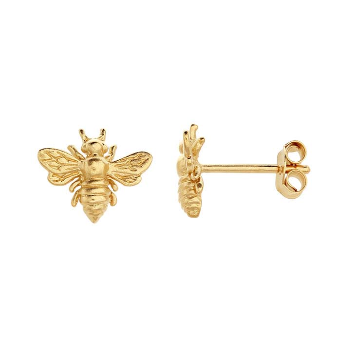 24K Heavy Yellow Gold-Plated Sterling Silver Honey Bee Post Earrings