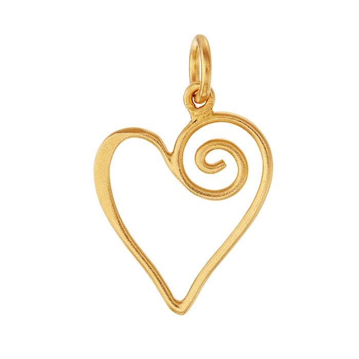 24K Heavy Yellow Gold-Plated Sterling Silver Open Swirl Heart Pendant