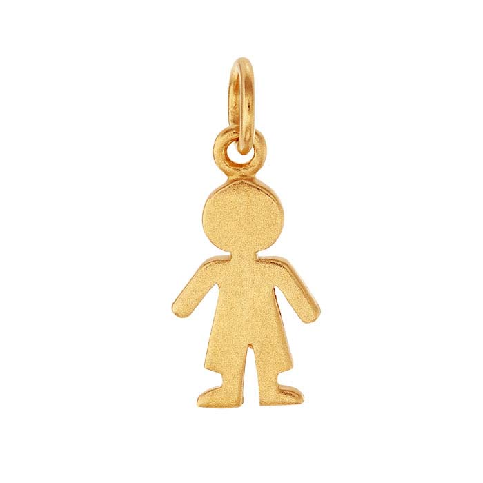 24K Heavy Yellow Gold-Plated Sterling Silver Boy Silhouette Cut-Out Charm