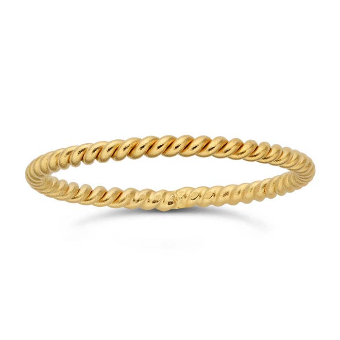 24K Heavy Yellow Gold-Plated Sterling Silver Twist Bands