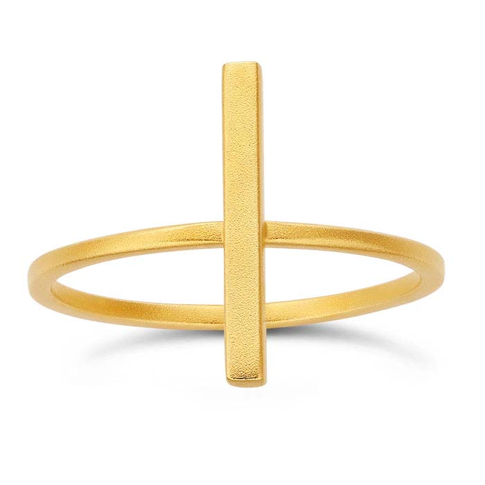 24K Heavy Yellow Gold-Plated Sterling Silver Long Rectangle Bar Rings