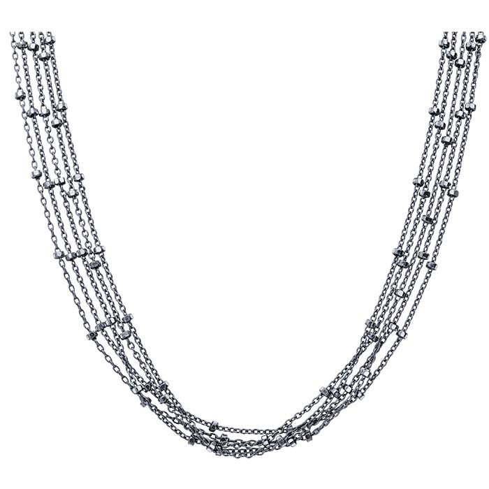 Sterling Silver Oxidized 5-Strand Cable Chain Necklace with Bead Accents