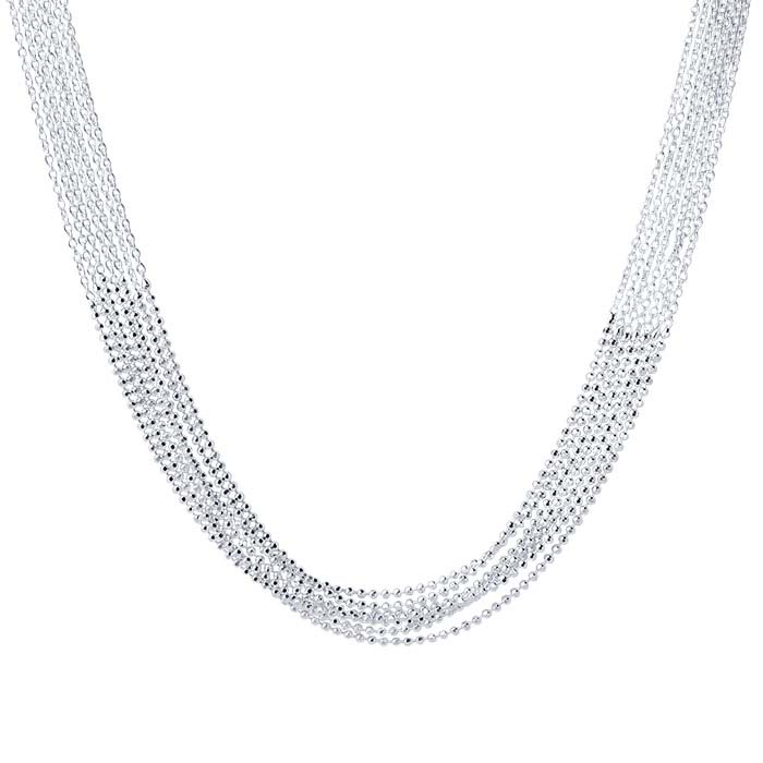 Sterling Silver 7-Strand Mixed-Chain Necklace