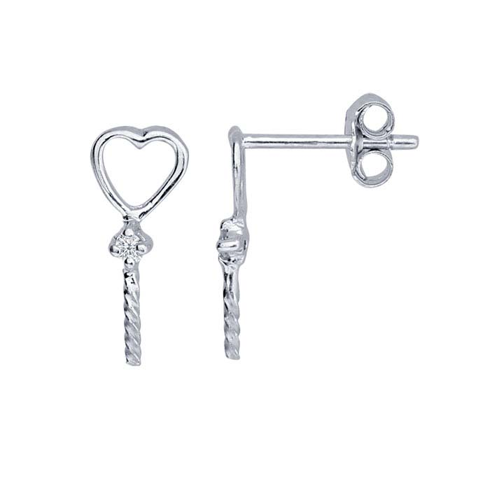 Sterling Silver Rhodium-Plated Heart & CZ Pearl Post Earring Mounting