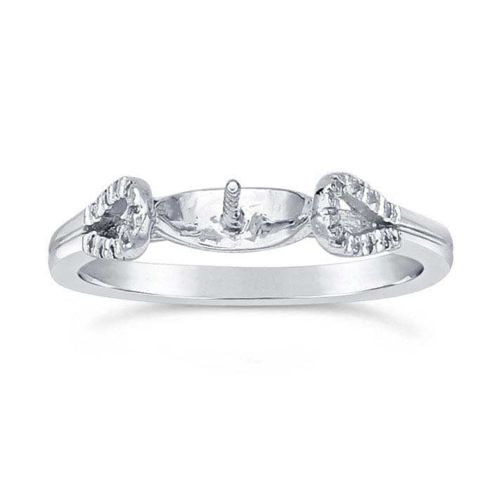Sterling Silver Rhodium-Plated CZ-Set Pearl Ring Mountings