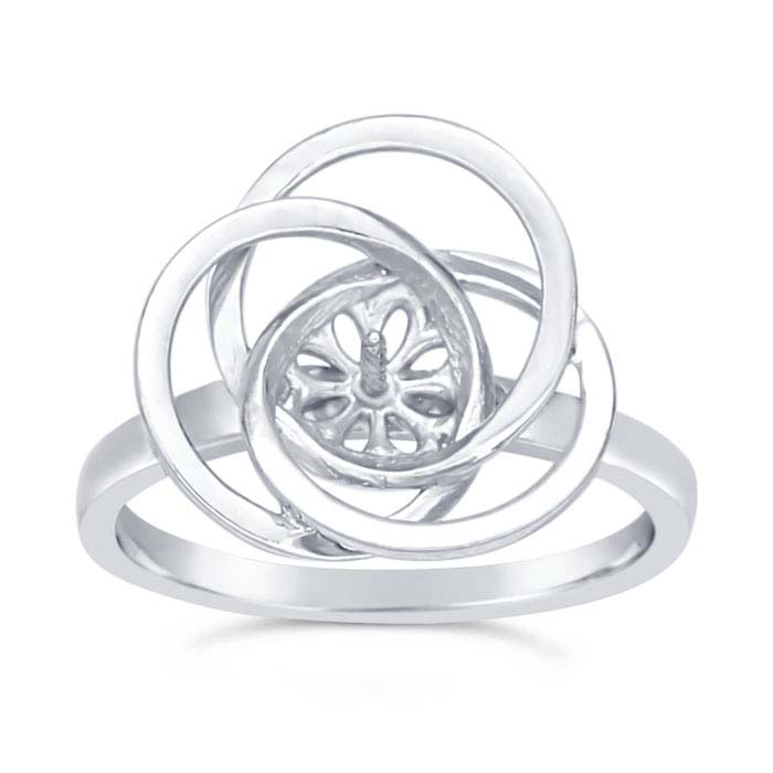 Sterling Silver Rhodium-Plated Love-Knot Pearl Ring Mountings