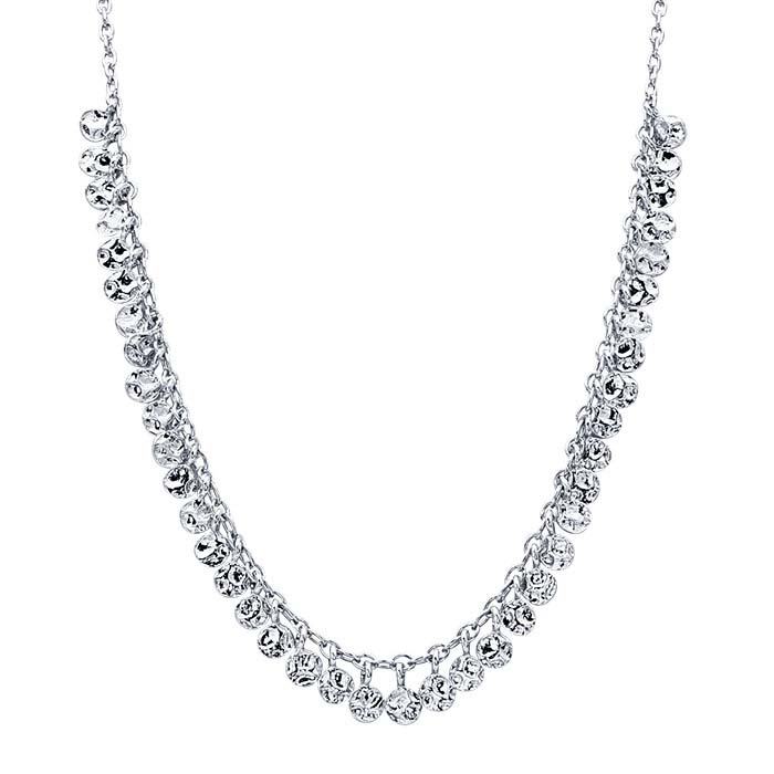 Sterling Silver Rhodium-Plated Choker-Style Necklace with Drops