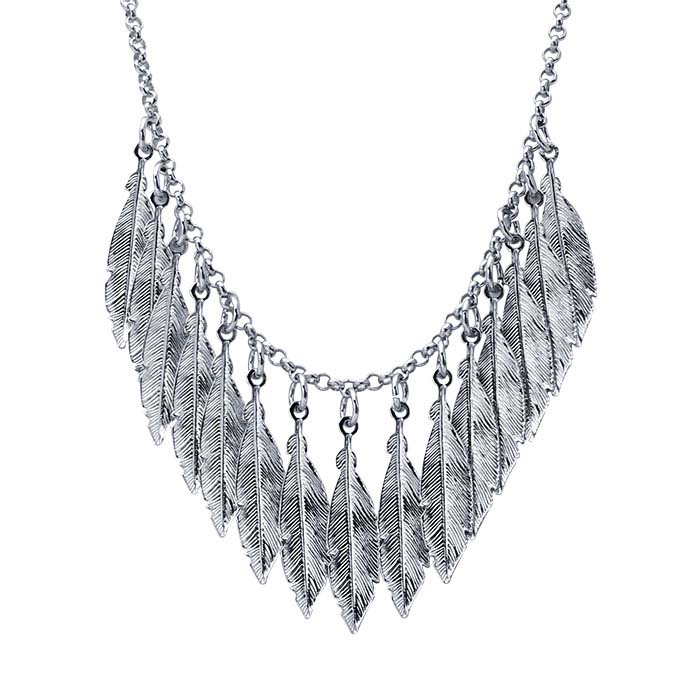 Sterling Silver Rhodium-Plated Necklace with Feather Drops