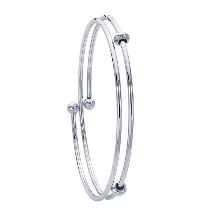 Sterling Silver Rhodium-Plated 2mm Flex Tube Bangle Bracelet with Threaded Ball Ends