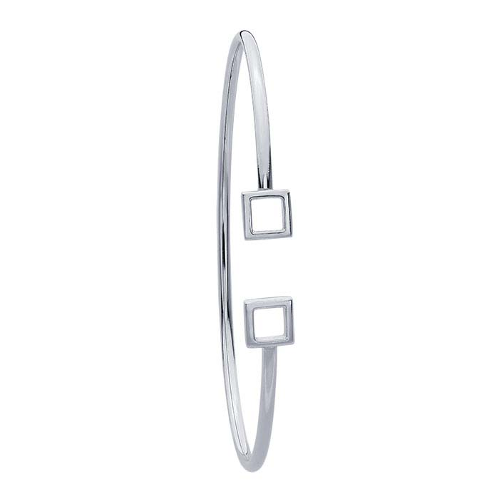 Sterling Silver 2mm Flex Tube Double-Square Cuff Bracelet