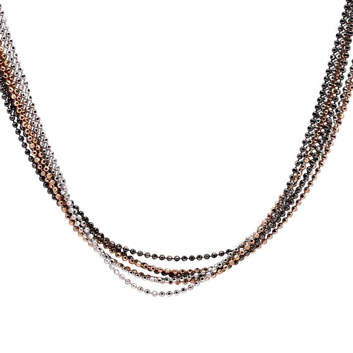Sterling Silver 6-Strand Tri-Color Diamond-Cut Bead Chain Necklace